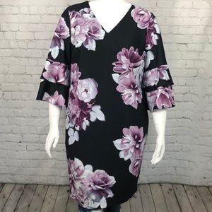 Calvin Klein Purple & Black Floral Dress 16W & 20W
